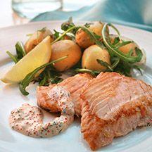 ViktVäktarna.se: Recept från ViktVäktarna Regnbågslax med romsås