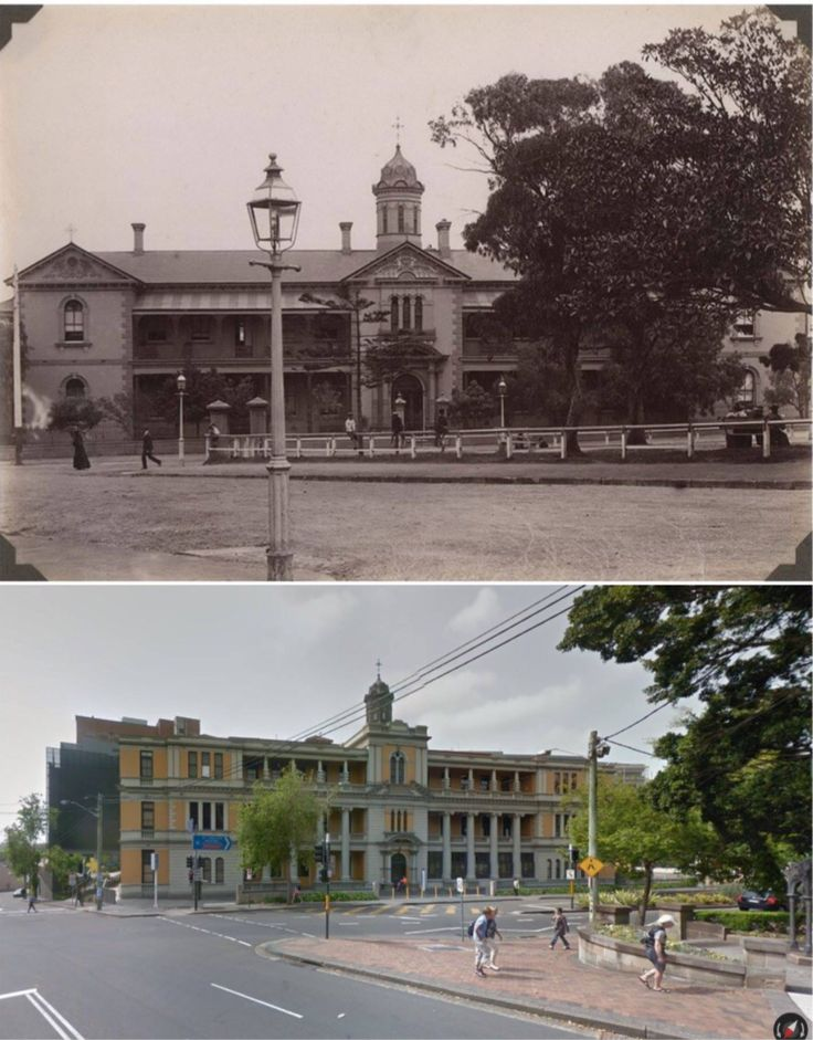 ST VINCENT'S HOSPITAL, DARLINGHURST - 1890's & 2014 (Josef Lebovic Gallery & Google Street View. By Jan Harkins) The hospital was originally established in Potts Point in 1857 by five Irish Sisters of Charity, who had migrated to Sydney in 1838. Their work included helping the prisoners at the Darlinghurst Gaol and their families. The hospital grew and moved to its present location in Darlinghurst in 1870.