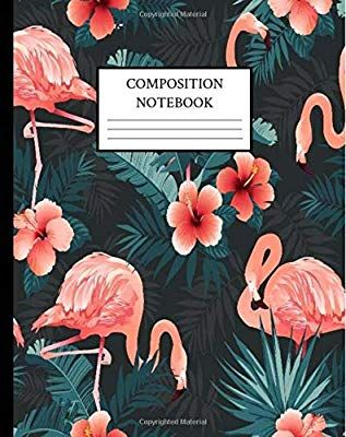 Composition Notebook Tropical Flamingo Coral Hibiscus Flowers And