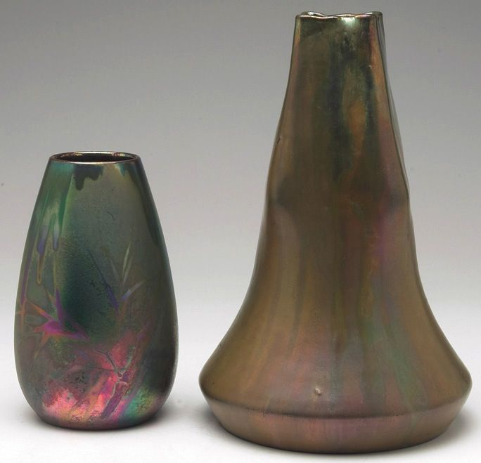 """Clement Massier vase, ovoid shape with a bamboo design, covered with a colorful metallic glaze, signed, 3.5""""w x 6""""h; with a Delphin Massier vase, large and unusual shape covered with an iridescent metallic glaze, signed, marked, 6""""w x 9""""h"""