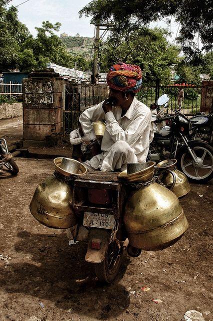 Motorbike Milkman . Rajasthan, India