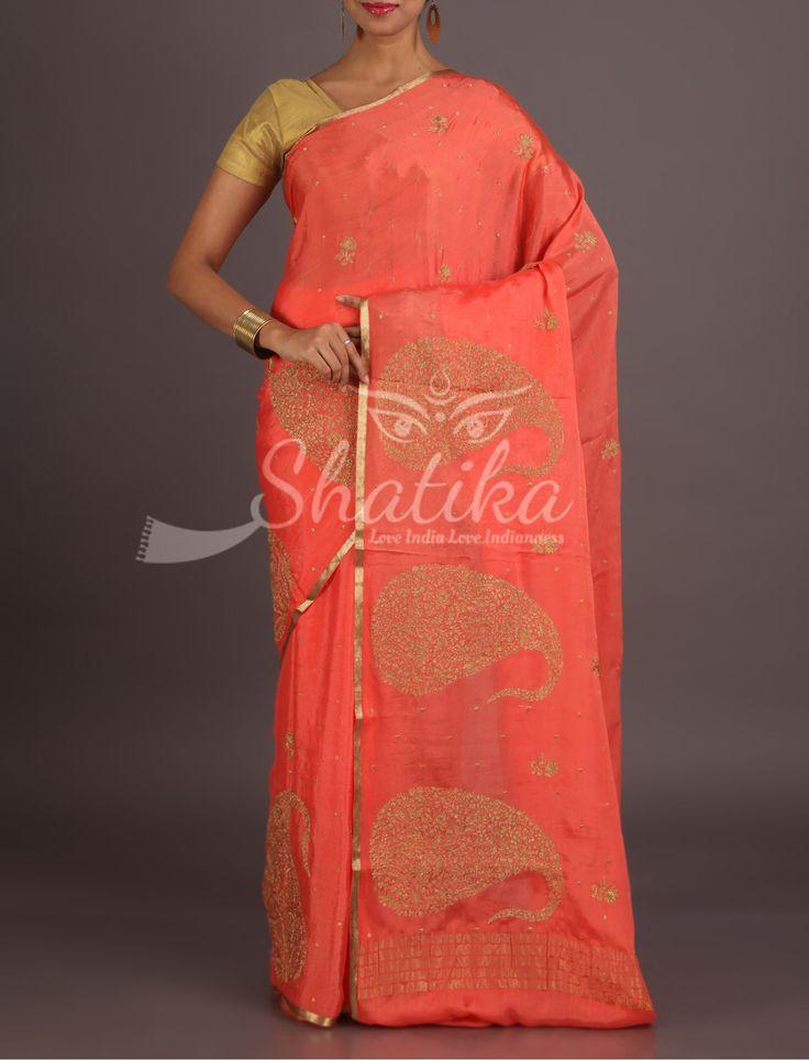 Lisa Peach With Bold Paisley Motifs With Lace Border Pure Mysore Chiffon Saree