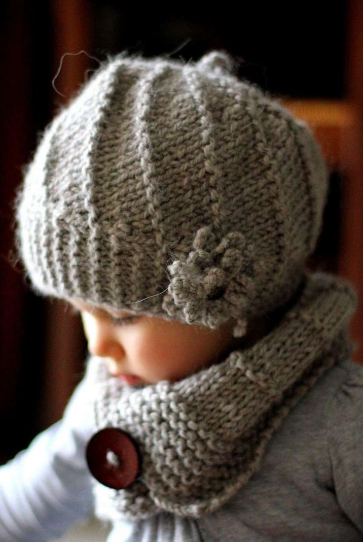 Cappelli di lana per bambini ai ferri - Cappello grigio