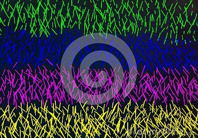 Colorful line segments in rows of green, blue, purple and yellow on black.