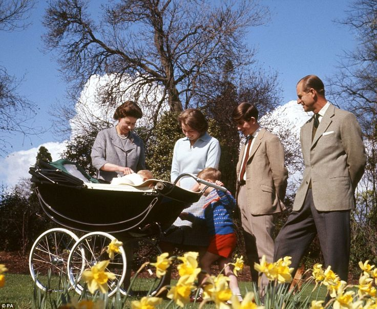 1965: With her family complete, the Queen relaxes at Windsor Castle on her 39th birthday alongside a baby Prince Edward, Princess Anne, Prince Andrew, Prince Charles and the Duke of Edinburgh