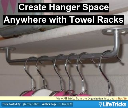 Hang a towel rack upside down to create hanger space anywhere! Extremely useful to put one or more inside your laundry room.