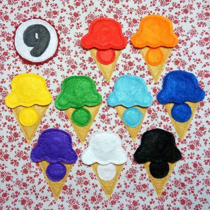 Кто не любит мороженное? Наверное нет таких!  Я не могла оставить эту книжечку без радуги, у этой страницы очень много развивающих штук:  1. Цвета радуги + белый и черный 2. Мороженки крепятся к рожкам кнопками, малыш должен подобрать правильные цвета  3. И, конечно же, цифра 9 - 9 рожков  #smartbabybook  #процесс_smartbabybook
