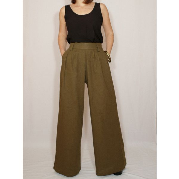 afc9167b9f37 Wide Leg Linen Pants Army Green Pants With Pockets High Waist Pants ($49) ❤  liked on Polyvore featuring pants, grey, women's cloth…