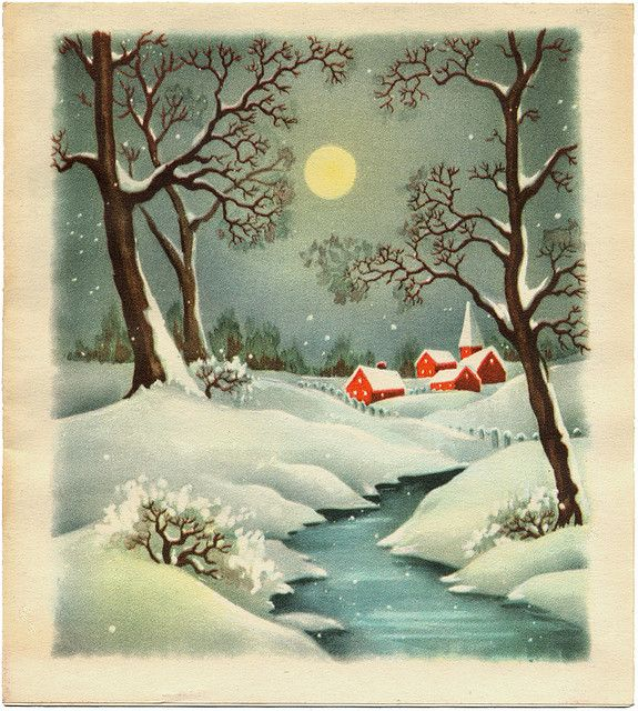 vintage Christmas card, snowy village