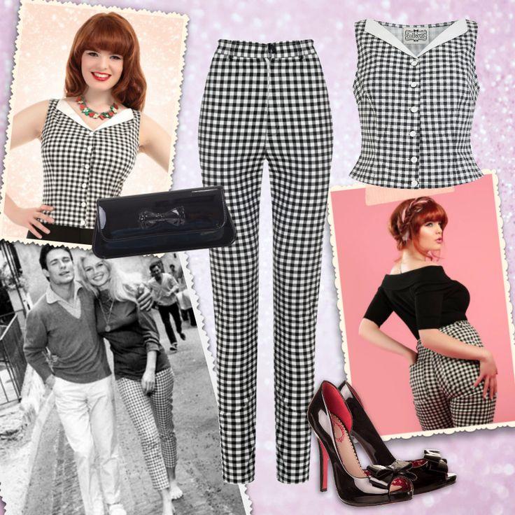 En total look vichy noir et blanc pour revivre les années B.B / Black & white gingham total look in the style of Brigitte Bardot ♥ MissRetroChic.com vintage & glamour online boutique