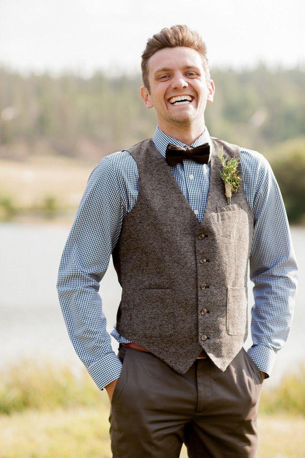 Boho Groom Wedding Attire Idea Blue On Down Tweed Vest And Dark Brown