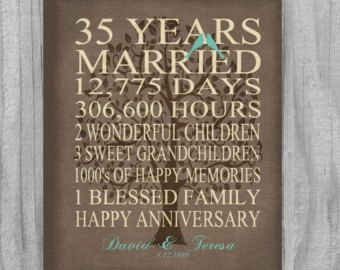 35 Year Anniversary Gift Faux Burlap Rustic by PrintsbyChristine