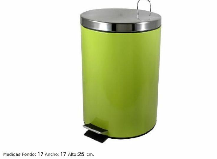 Cubo metal lacado verde pistacho, con tapa inox. capacidad para 3 Litros.   www.tatamba.com