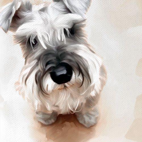 SCHNAUZER dog portrait original painting CANVAS ART GICLEE PRINT (Medium) #Canvas