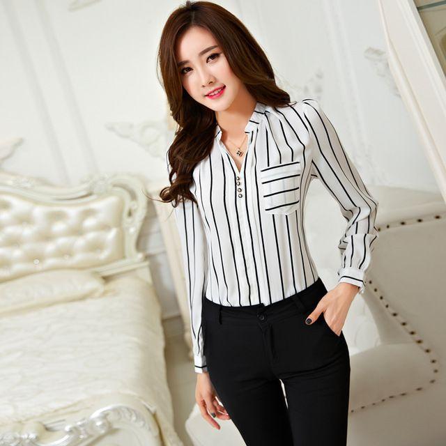 2016 nueva moda de rayas mujeres gasa blusa con cuello en v manga larga blanco negro ropa de trabajo camisa Formal diseños
