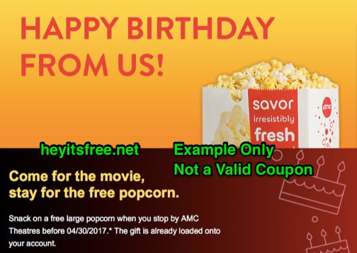 AMC Theaters Birthday Freebie :: http://www.heyitsfree.net/amc-theaters-birthday-freebie/