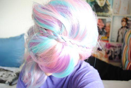 Candy hair Cheveux arcenciel pastel, Cheveux barbe à