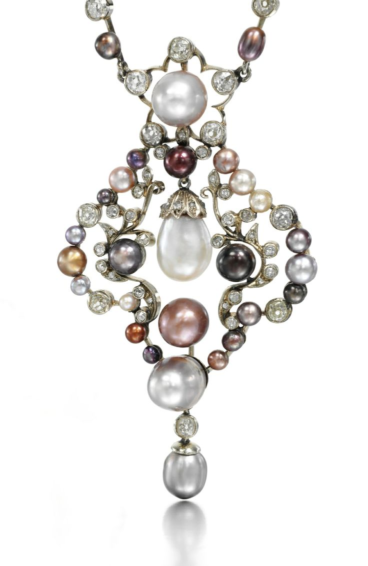 Colored Natural Pearl and Diamond Necklace, Late 19th Century. Photo Sotheby's