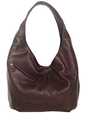 3237a99bcb35 Brown Leather Hobo Bag w Pockets