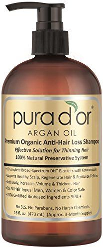 Pura d'or Premium Organic Argan Oil Anti-Hair Loss Shampoo (Gold Label), 16 Fluid Ounce - Luxury Beauty Care Products !