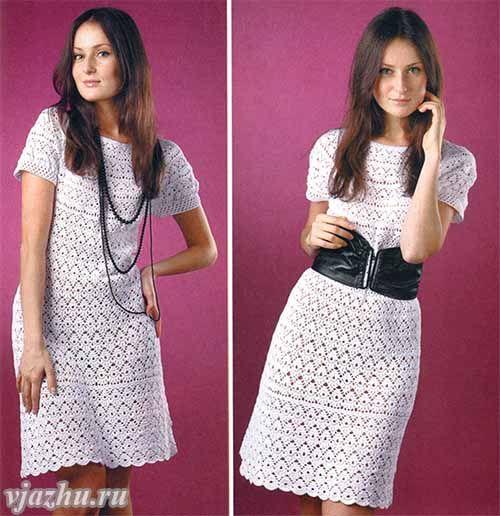 Белое ажурное летнее платье, связанное крючком. Описание вязания, схемы и выкройка.