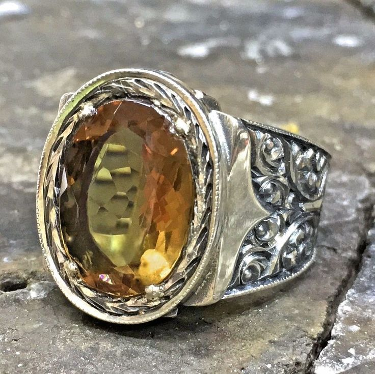 925 <b>Sterling Silver</b> Mens <b>Ring</b> with amazing color changing ...