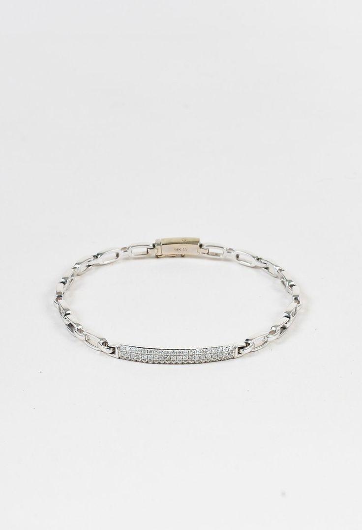 14K White Gold Round Diamond Embellished Chain Link Bracelet – Luxury Garage Sale