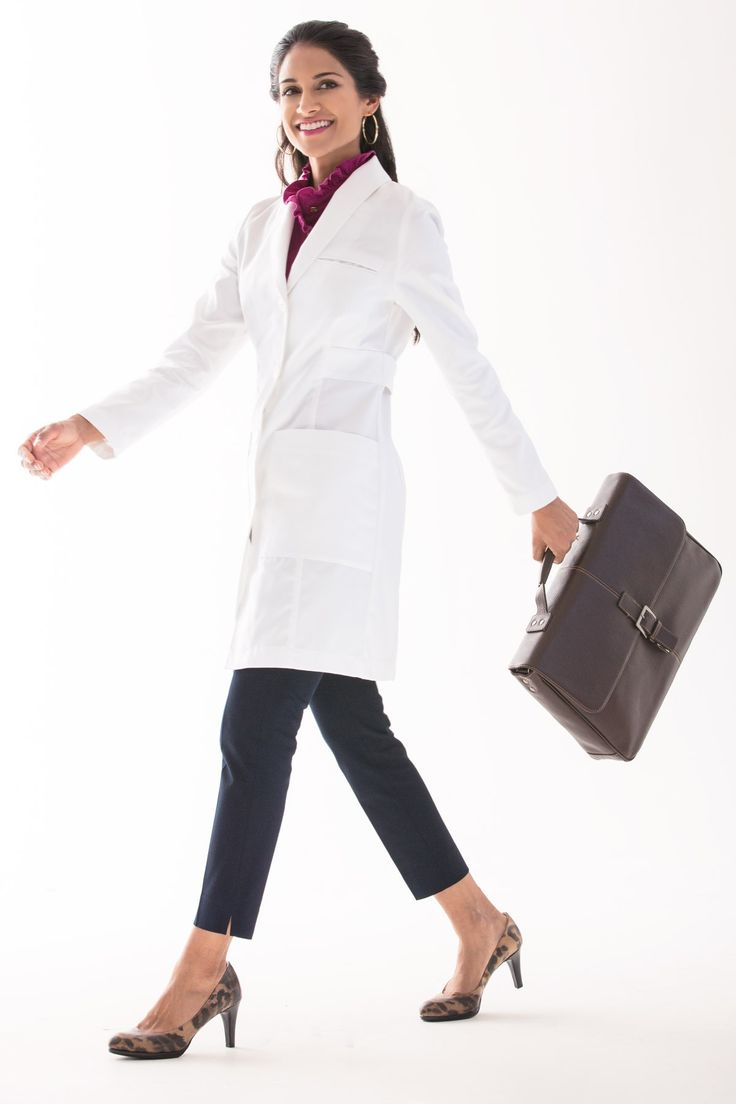 Emma W. brings a fresh and #sophisticated take to your workwear. The #shawlcollar, loose back belt with buttons, #beautiful finishing, and reliable fabric protection are all in service of a fitted style you'll be happy to wear each day.  #whitecoat #doctor #physician #physicianassistant #medicine #dermatologist #surgeon