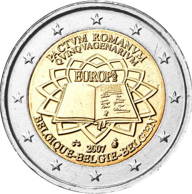 N♡T.2 euro: 50th Anniversary of the Treaty of Rome.Country:Belgium  Mintage year:2007 Issue date:25.03.2007 Face value:2 euro Diameter:25.75 mm Weight:8.50 g Alloy:Bimetal: CuNi, nordic gold Quality:Proof, BU, UNC Mintage:5 mil. pc