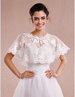 Wedding  Wraps Shrugs Sleeveless Lace Ivory Wedding / Party/Evening Scoop Appliques / Lace Clasp