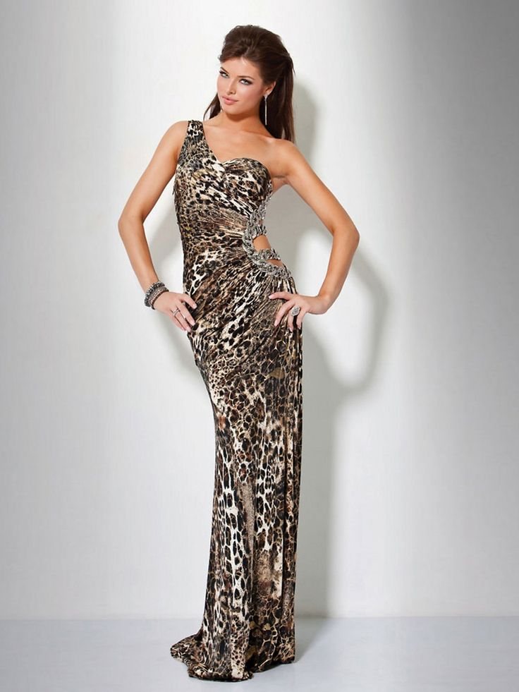 One Shoulder Full Length Animal Print Evening Dress with Open Side Detail