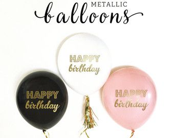 Happy Birthday Balloons Black and Gold Birthday by ModParty