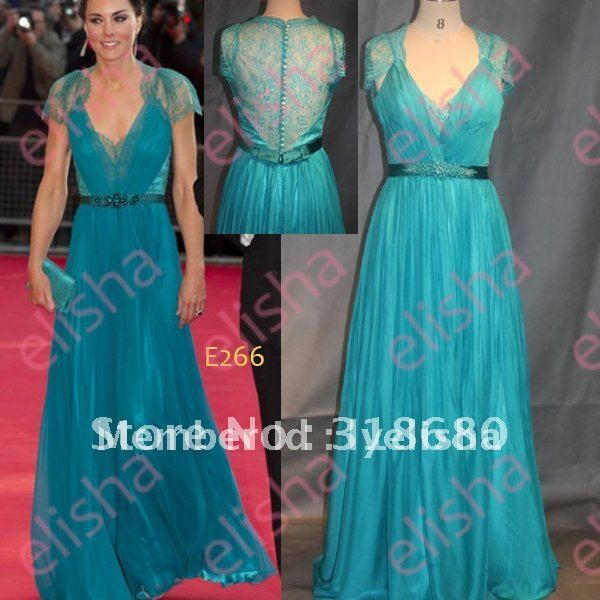 Elegant Princess Kate Middleton V-neckline Short Sleeve Lace Cover Back Teal Blue Flowing Chiffon Evening Dress on AliExpress.com. $165.00