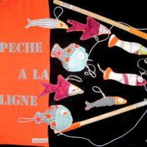 Jeu de pêche à la ligne en tissu, set de poissons jeu enfant, jeu d'adresse, modèle unique | Grained'yline