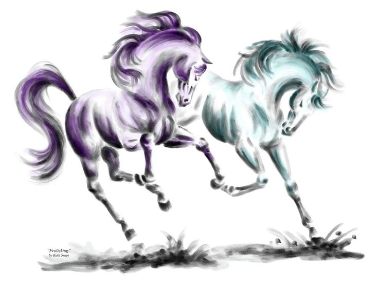 frolicking wild horses print color tinted by kelli swan - Horse Pictures Print Color