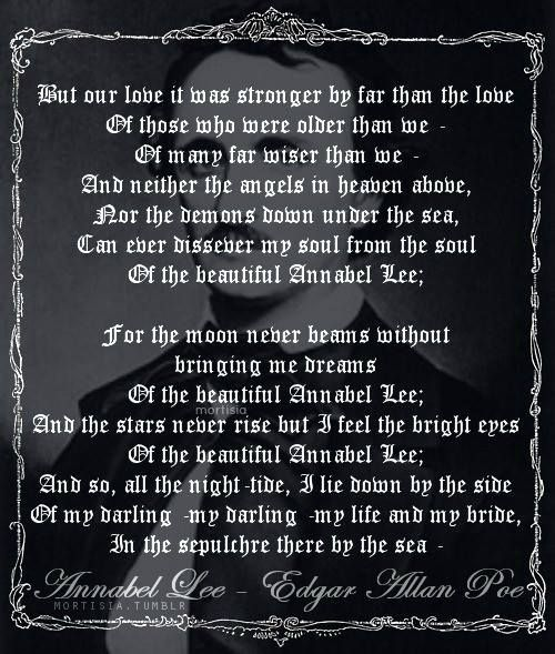 the symbolic meanings of the seraphims in annabel lee a poem by edgar allan poe The symbolic meanings of the seraphims in annabel lee, a poem by edgar allan poe.