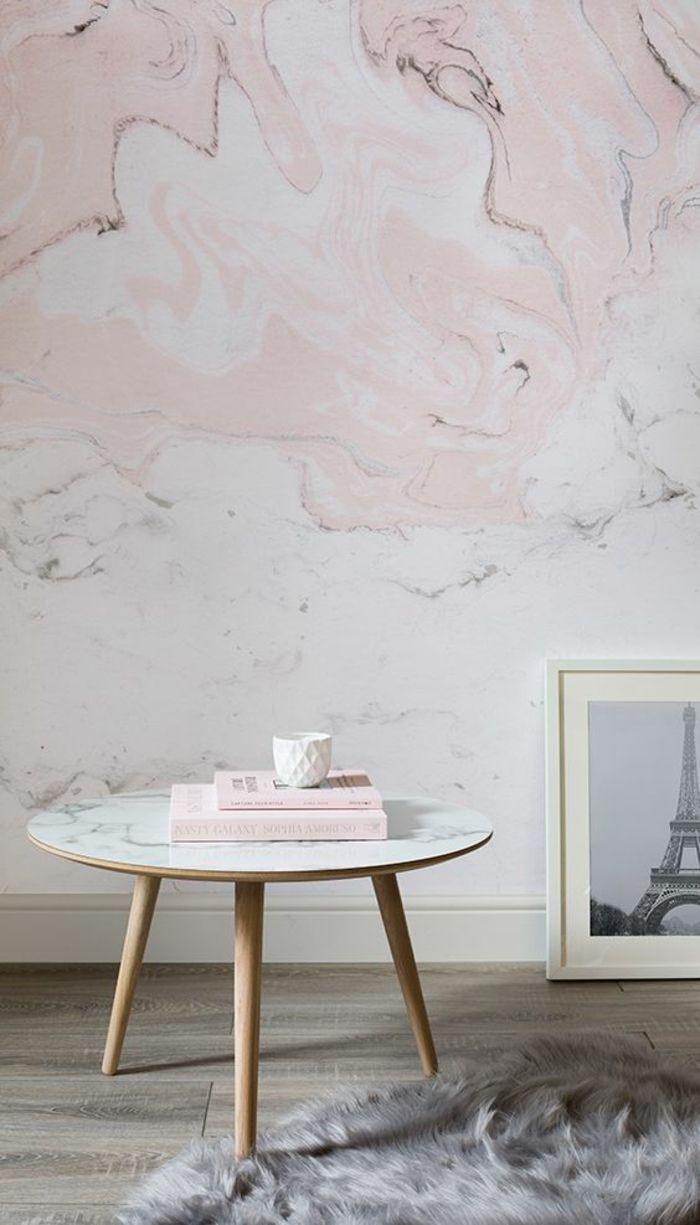 Captivant Deco Rose Poudré Sur Les Murs Aux Papiers Peints Motifs Marbrés En Rose Et  Blanc,