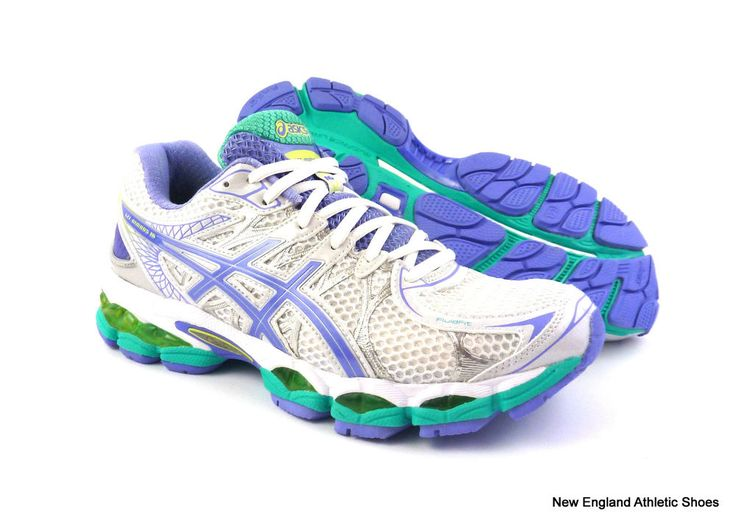 Asics womens Gel-Nimbus 16 (D) wide running shoes  - White / Periwinkle / Mint #ASICS #RunningCrossTraining