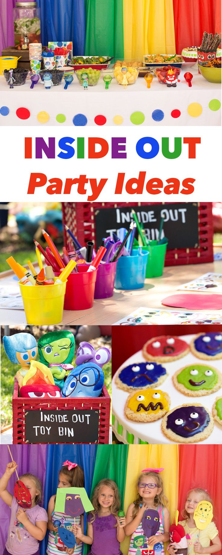 Inside Out Party Ideas---like white table cloth with rainbow background