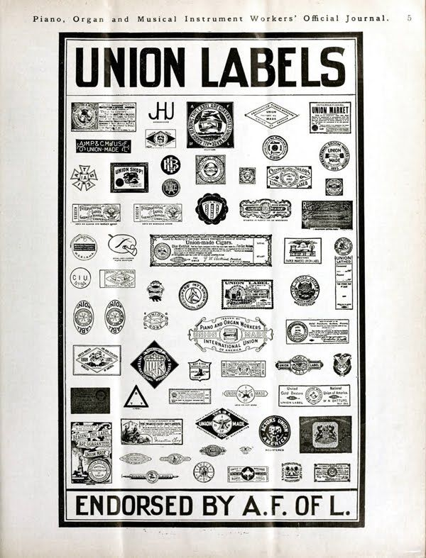 """This page of union emblems is from a 1900 issue of the Piano, Organ and Musical Instrument Workers' Official Journal."""