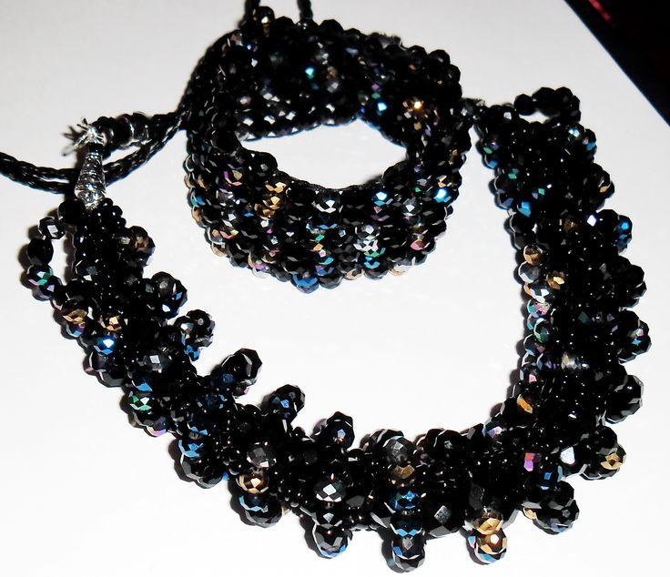 Czech multicolored beads necklace & bracelet