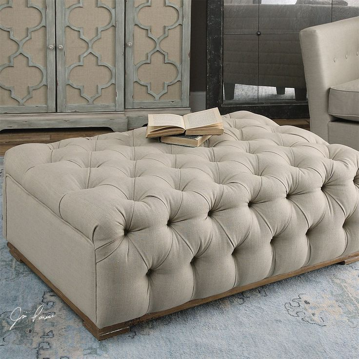 Superb Uttermost 23253 Kaniel Tufted Antique White Ottoman Pictures