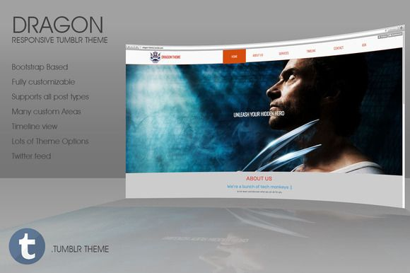 Dragon - Responsive Tumblr Theme by 8Link on Creative Market