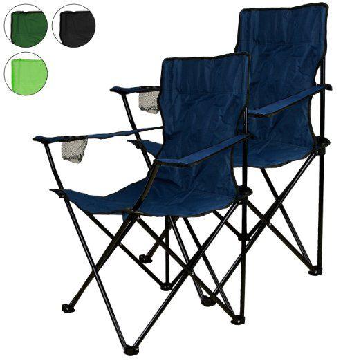 Nexos, Set di 2 sedie pieghevoli da campeggio, con porta-bicchiere intregrato nel bracciolo, colore: Blu EURO 24,72