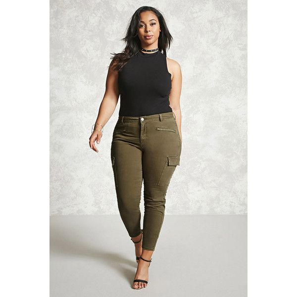 womens plus size green cargo pants