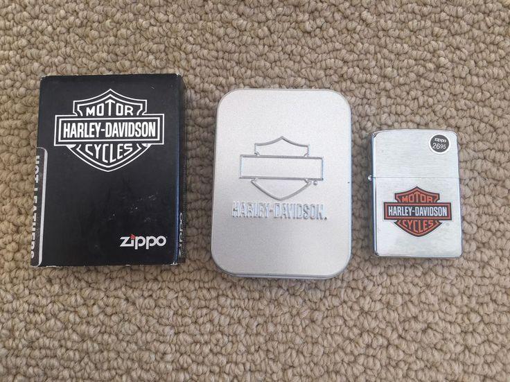 NEW IN BOX Zippo Harley-Davidson Logo Lighter Brushed Chrome H-D USA #200HD.H252 #ZippoHarleyDavidson