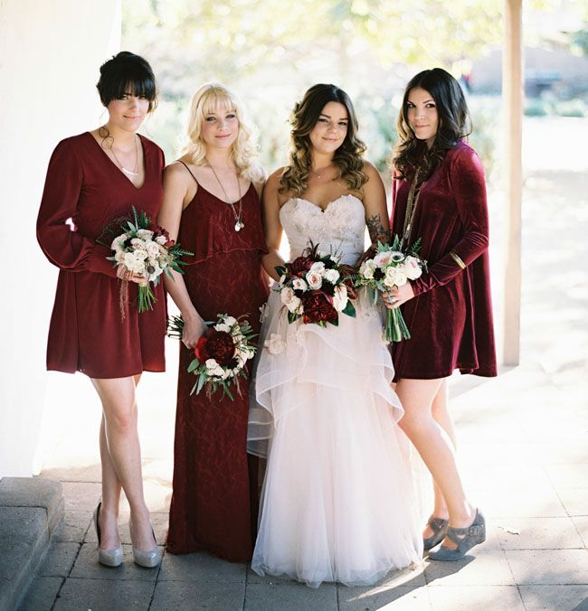 Red Velvet Bridesmaid Dress