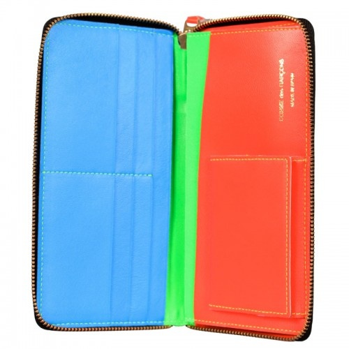 Limited edition super fluorescent long zip-around Wallet in green from Comme Des Garcons
