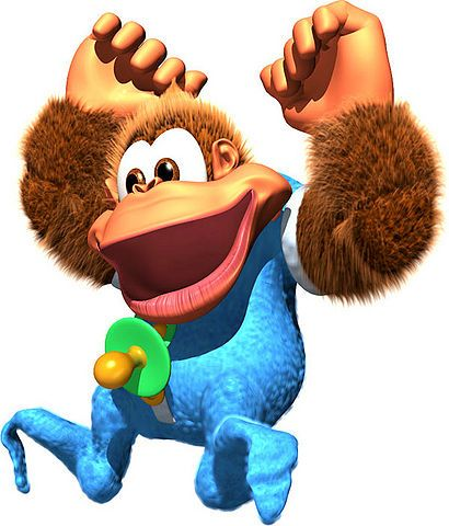 Kiddy Kong - Donkey Kong; youngest member of the Kong Family who debuted in Donkey Kong Country 3: Dixie Kong's Double Trouble!. He is the younger brother of Chunky Kong and cousin of Dixie and Tiny Kong. Kiddy was apparently going to appear as a playable character in Donkey Kong Racing before it was canceled.