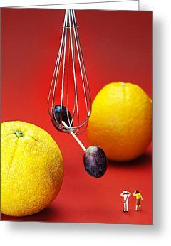 Tiny People Big World Greeting Cards - The Cavendish experiment depicted by fruits food physics Greeting Card by Paul Ge